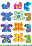 Butterflies Sets_eps. Illustration of butterflies sets on white background. Additional grasses Royalty Free Stock Photo