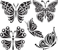 Butterflies silhouette. Drawing of lines and points. Symmetrical image. Options Royalty Free Stock Photo