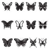Butterflies silhouettes Royalty Free Stock Photo