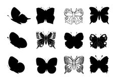 Butterflies silhouettes Royalty Free Stock Photos