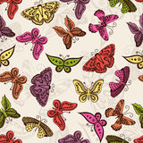 Butterflies silhouettes in hand-drawn style for tattoo design. Vector decorative doodle seamless. Royalty Free Stock Images