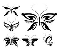 Butterflies silhouettes isolated set 2 Royalty Free Stock Photos