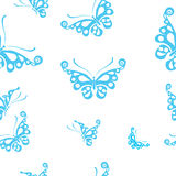 Butterflies silhouettes isolated on white background. Easy to edit, individual objects. Seamless pattern. Seamless pattern royalty free illustration