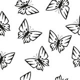 Butterflies Silhouettes Seamless Texture. Butterfly black and white silhouettes on a white background. Seamless texture Stock Images