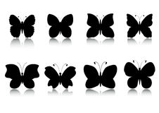 Butterflies silhouettes set Stock Photos