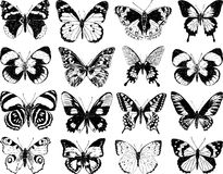 Butterflies silhouettes Royalty Free Stock Images