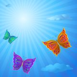 Butterflies in the sky. Butterflies fly in the blue summer solar sky Stock Image