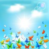 Butterflies in sky Stock Image