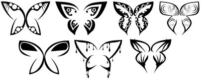 Set of stylized Butterflies tattoo isolated Stock Photos