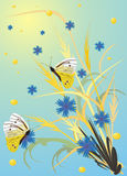 Butterflies, spikes, flowers royalty free illustration