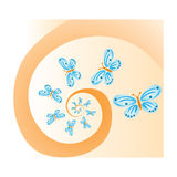 Butterflies on spiral background Stock Photo