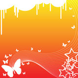 Butterflies and Stars. A background decorated with butterflies, lines and stars Royalty Free Stock Photography