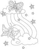 Butterflies  and stars coloring page Royalty Free Stock Images