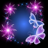 Butterflies and stars Stock Image