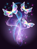 Butterflies and stars Royalty Free Stock Image