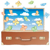 Butterflies in suitcase Royalty Free Stock Photography