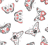 Butterflies suits seamless pattern. Butterflies with suits on their wings; seamless vector pattern Stock Image