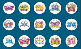 Butterflies summer icons concept  cartoon doodle sticker design. Royalty Free Stock Photography