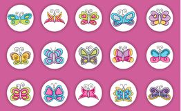 Butterflies summer icons concept  cartoon doodle sticker design. Royalty Free Stock Image