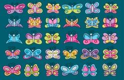 Butterflies summer icons concept  cartoon doodle sticker design. Stock Image