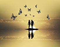 Butterflies sunset Royalty Free Stock Photos