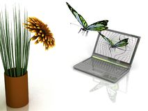 Butterflies take off from laptop Royalty Free Stock Photography