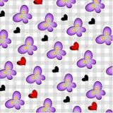 Butterflies on tartan Stock Images
