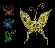 Butterflies in tattoo style. Vector illustration of butterflies in tattoo style Royalty Free Stock Photography