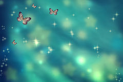 Butterflies on teal background Royalty Free Stock Photography