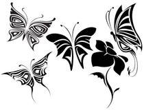 Butterflies tribal set Stock Image