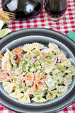 Butterflies tricolor with peas and ham. Butterflies tricolor green red and white, with ham and peas Stock Photos