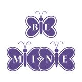 Butterflies and Valentine\'s Day. Be Mine love. Butterflies and inscription on the wings: Be Mine. Greeting card Valentine\'s Day. Design for banner, poster or Royalty Free Stock Images