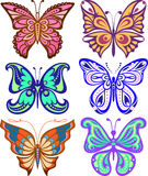 Butterflies variety of complex shape. Decoration silhouette Royalty Free Stock Photo