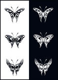 Butterflies - vector. Butterflies in black and white - vector Royalty Free Stock Images