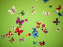 Butterflies on the wall green background colors