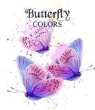 Butterflies watercolor card Vector. Peace Day delicate backgrounds. Butterflies watercolor card Vector. Peace Day delicate background stock illustration