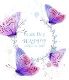 Butterflies watercolor card Vector. Peace Day delicate wreath background. Butterflies watercolor card Vector. Peace Day delicate wreath template stock illustration