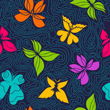 Butterflies and Waves Pattern Stock Image