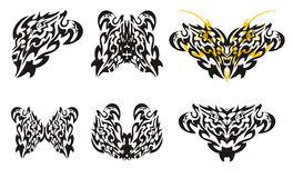 Butterflies wings and hearts in tribal style Royalty Free Stock Photos
