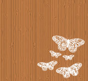 Butterflies on wood Stock Photo