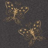 Butterflies with wooden texture. Butterflies with wooden texture on gray background Royalty Free Stock Photography