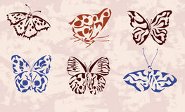 butterfly . icons . tattoo . Royalty Free Stock Images