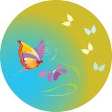 Butterflies on year meadow vector illustration