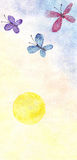 Butterflies and yellow sun. Butterfly flying happy around the yellow circle of the sun Stock Photo