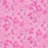 Butterflies and flowers in pink royalty free illustration