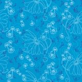 Butterfliy blues and blue flowers stock illustration