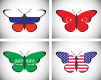 Butterflis with flags of countries Royalty Free Stock Image