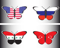 Butterflis with flags of Russia, USA, Syria and Turkey Royalty Free Stock Images