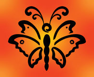 Butterfliy on orange background Royalty Free Stock Photography