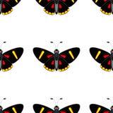 Butterfllies del nero del modello con i punti gialli e rossi royalty illustrazione gratis